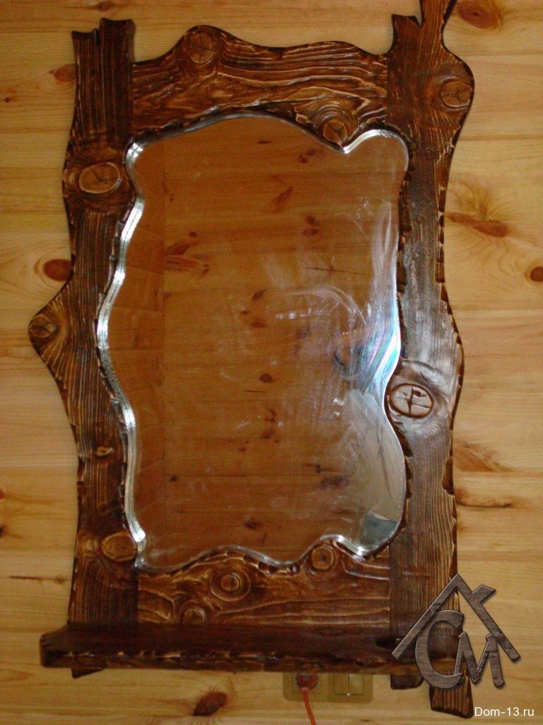 Рамка под зеркало из состаренного дерева